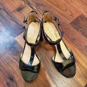 Via spiga designer womens ankle strap black heels